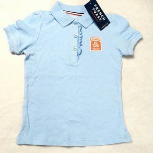 French Toast Polo Shirt Ruffle Front, Blue XS 4/5